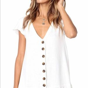 White Button Down Cotton Dress Small